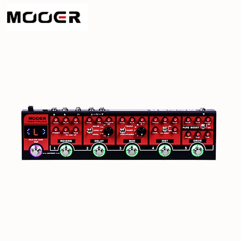 MOOER Red Truck 6 effects pedals built into 1 simple unit.boost,overdrive,Distortion,modulatiom,Delay,reverb