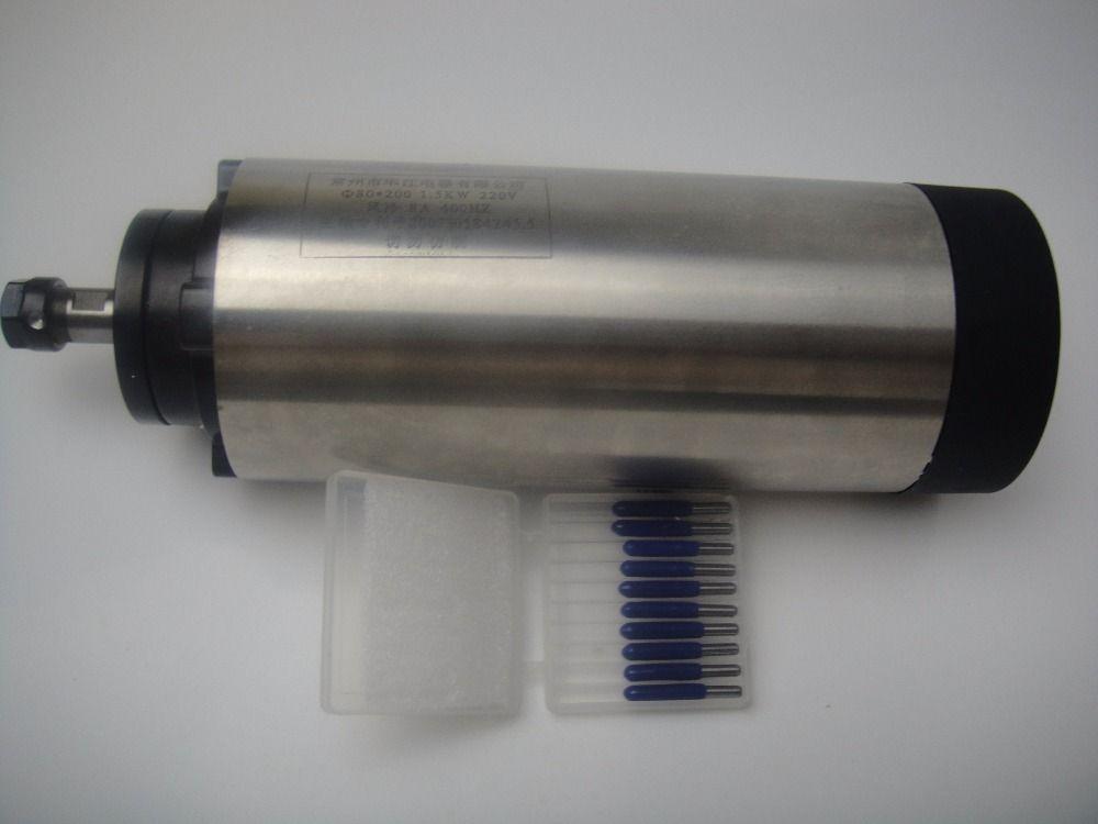 CNC frässpindel ER11 luftkühlung 1.5KW spindel mit 4 stücke lager + 10 stücke cnc-gravur bits