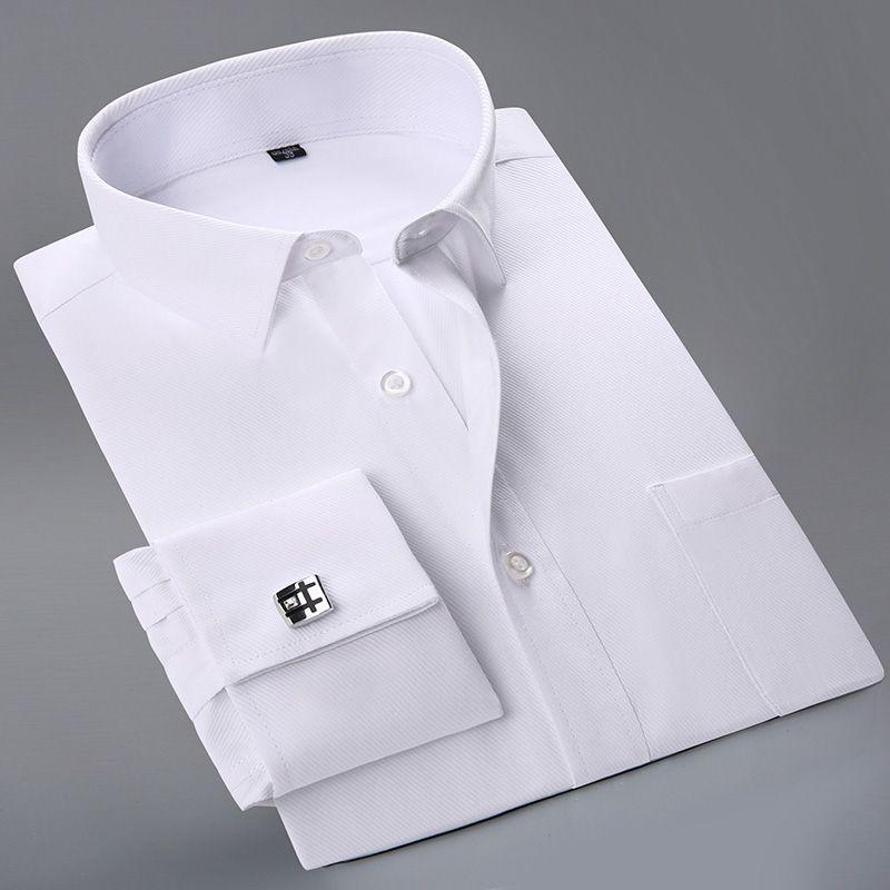 2017 New French Cuff Button Men Dress Shirts classic Long Sleeve Brand Formal Business Fashion Shirts camisa masculina Cufflinks