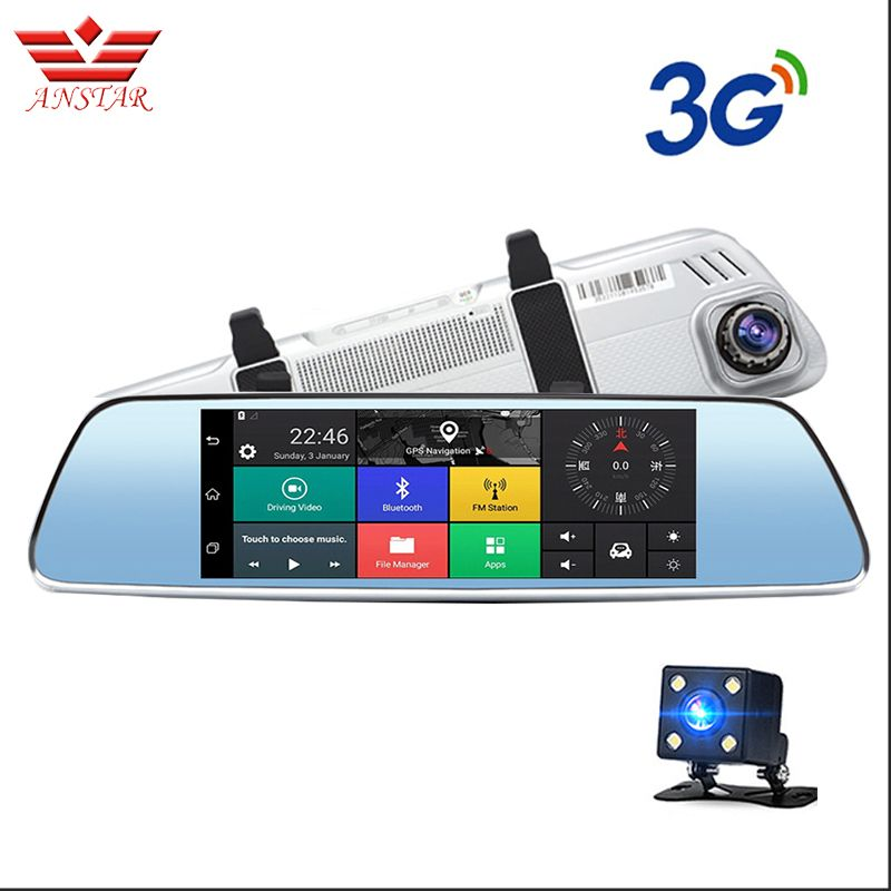 ANSTAR 7 inch 3G Car Dvr Camera GPS Navigator Android Rearview Mirror Full HD 1080P Video Recorder Bluetooth Dual Lens Dashcam