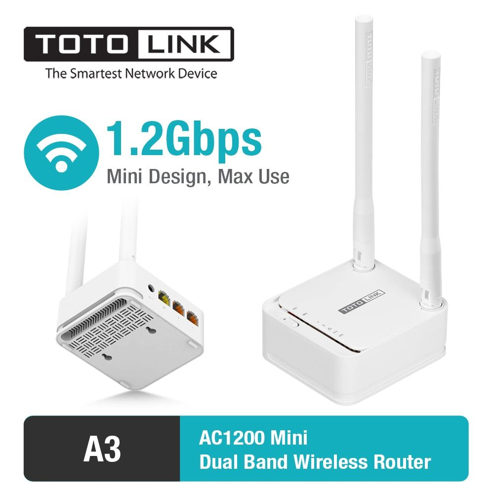 TOTOLINK A3 11AC 1200Mbps WiFi Router with Wireless Repeater and AP in One, and 2 pcs of 5dBi Antennas