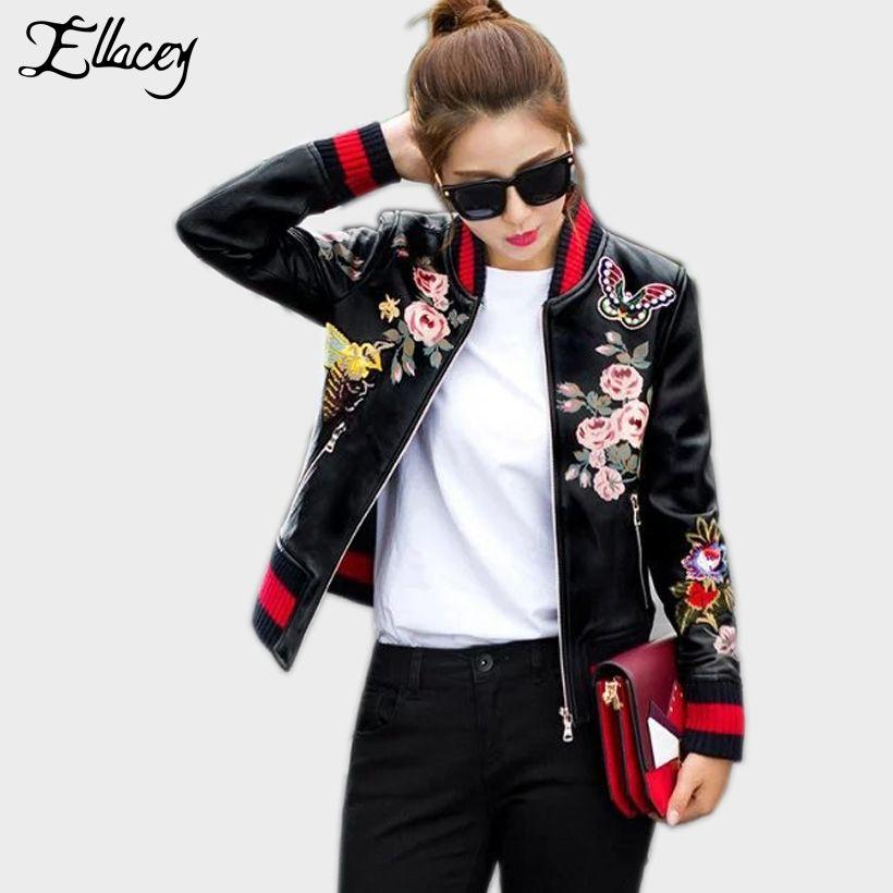 New Arrival 2018 Sukajan Souvenir Motorcycle PU Leather Jacket Women Short Floral Printed Embroidery Baseball Varsity Jacket