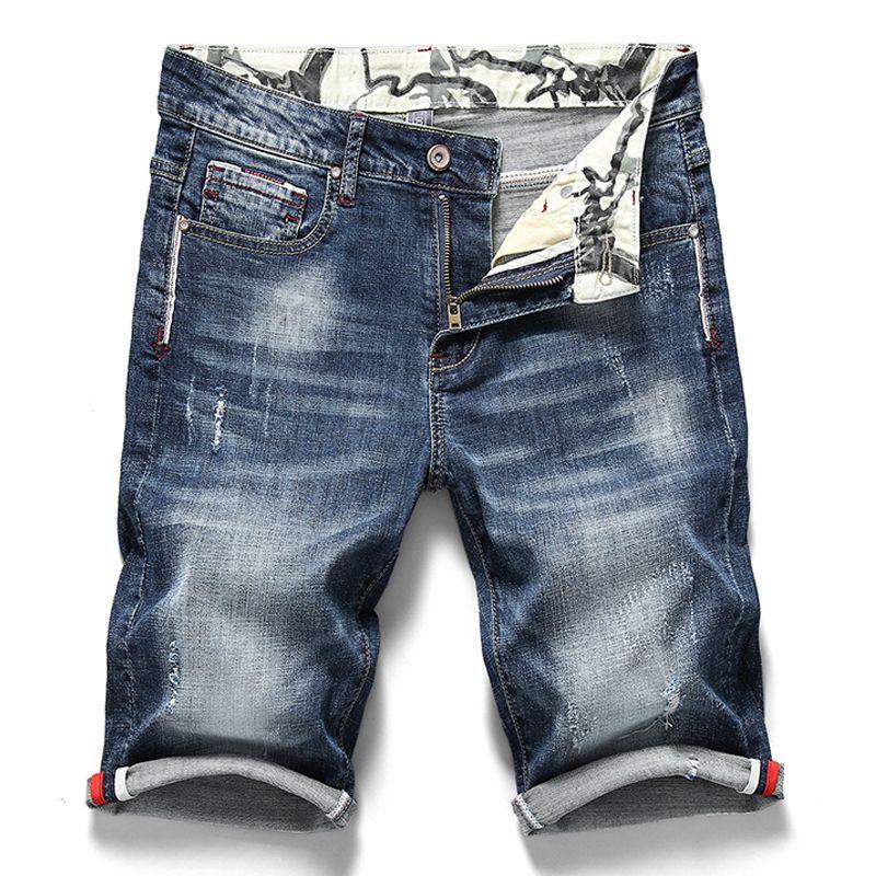2019 été nouveau hommes Stretch Jeans courts décontracté Slim Fit haute qualité élastique Denim Shorts hommes marque vêtements