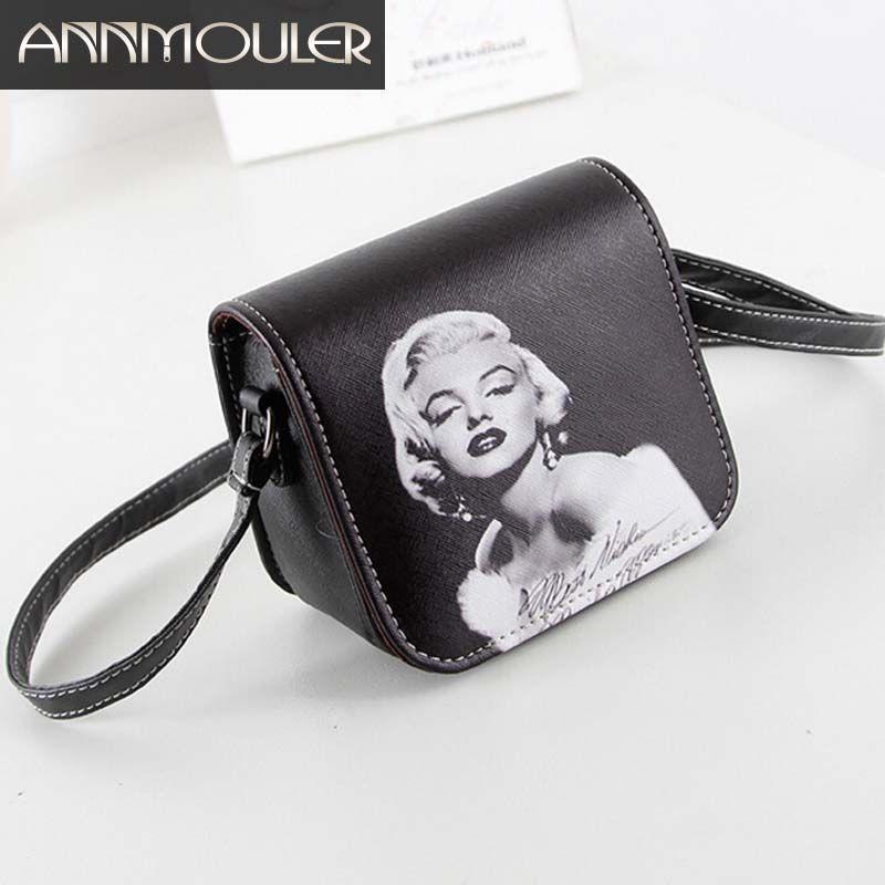 Nouvelle mode femmes sac en cuir Marilyn Monroe imprimé petit sac à bandoulière filles PU sac en cuir nuit Out téléphone sac à bandoulière cadeaux