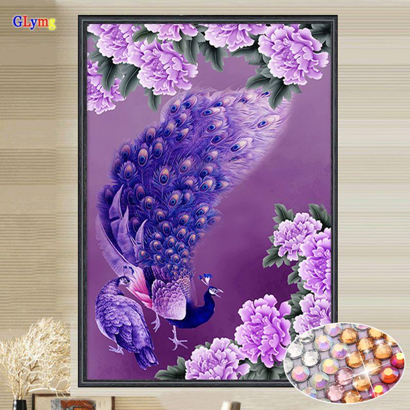 GLymg Needlework Diy Diamond Embroidery Purple Peacock Crystal <font><b>Bright</b></font> Round Drill Diamond Painting Cross Stitch Gift Home Decor