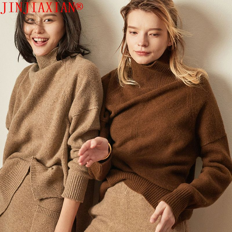 JINJIAXIAN Automne et hiver nouveau pull en cachemire col roulé de femmes dames épais pull court pull en tricot Lâche de mode