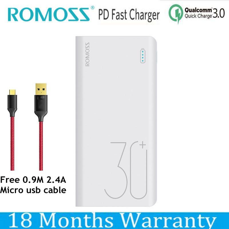 Romoss 30000 mah Power Bank Quick Charge QC 3,0 Power Schnelle Ladung 9 v 2A 12 v 1.5A für iPhone XS Xiaomi Mi8 Samsung S9 Nexus 6 p