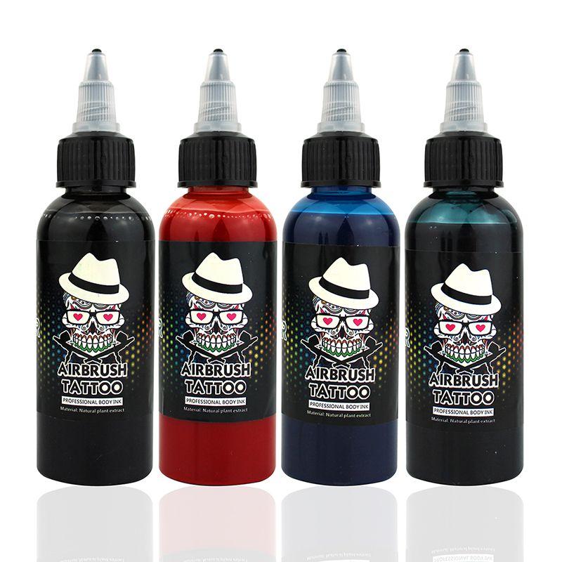 OPHIR 60 ML/bouteille aérographe encre noir/rouge/bleu/tatouage couleur pour peinture corporelle tatouage temporaire encre Pigment corps Art couleur _ TA099-1