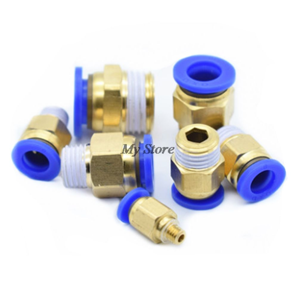 1/8'' 1/4'' 3/8'' 1/2'' Male-4 6 8 10 12mm Straight Push in Fitting Pneumatic Push to Connect Air