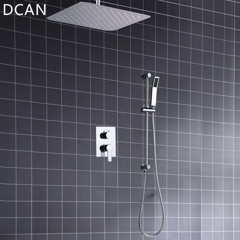 Ultra-dünne 16 Inche 400x400mm Umsteller Luft Unter Druck Hochdruck Regen Dusche Platz Spiegel Bad Wasserhahn overhead Dusche System