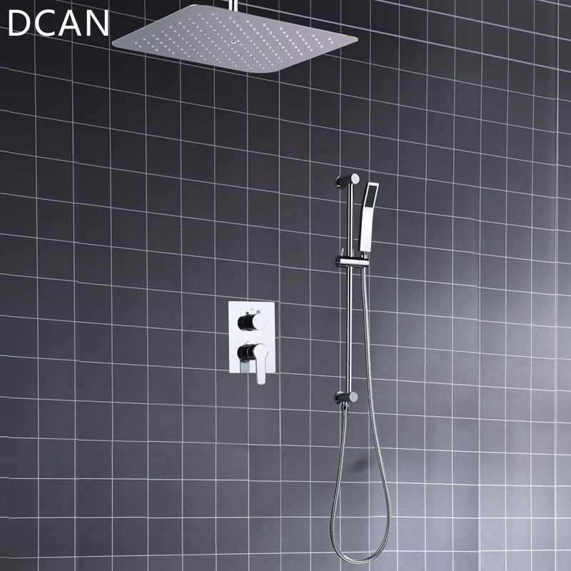 Ultra-thin 16 Inche 400x400mm Diverter Air Pressurize High Pressure Rain Shower Square Mirror Bath Faucet Overhead Shower System