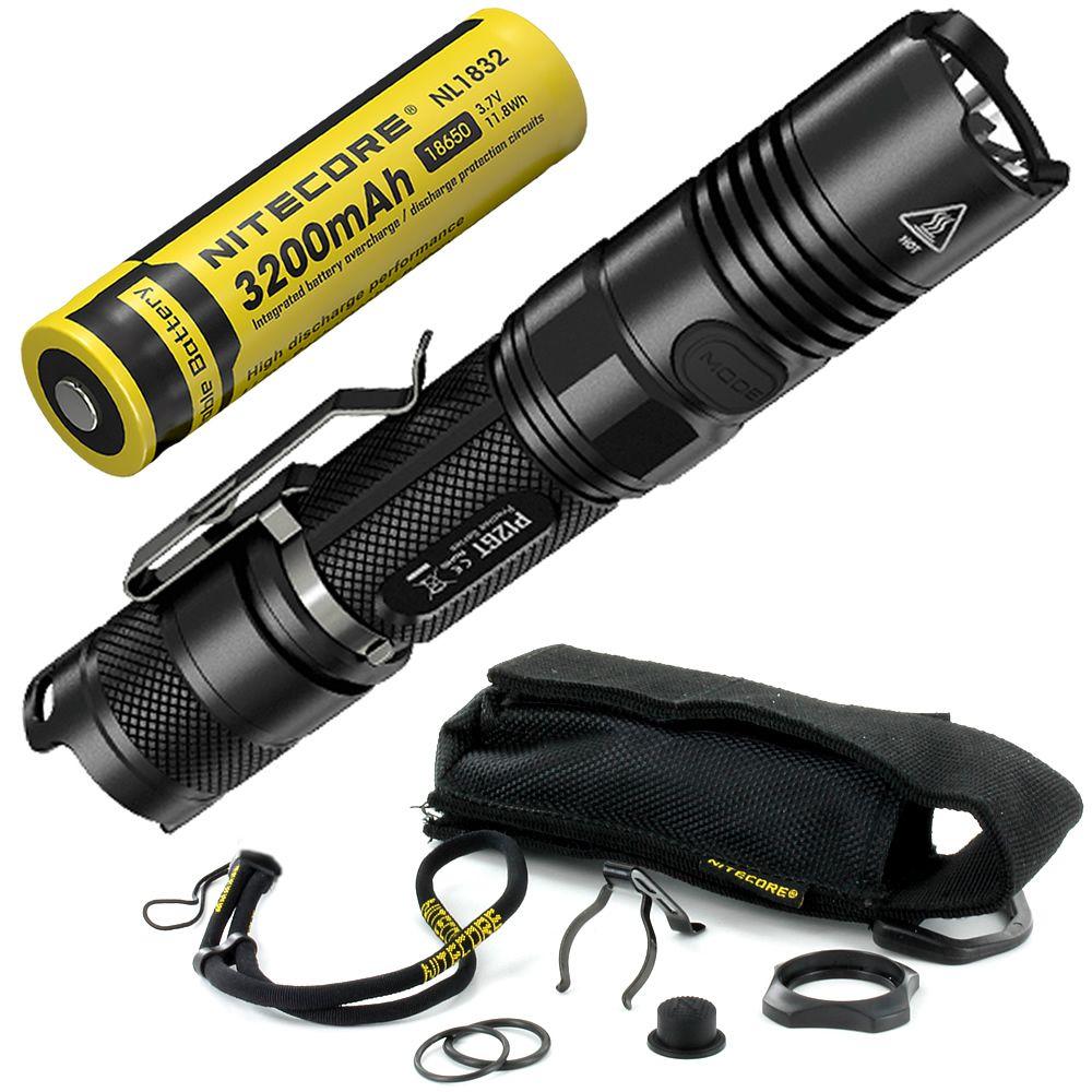 Freies Verschiffen NITECORE P12GT 1000LMs Wiederaufladbare 18650 Batterie CREE XP-L HALLO V3 LED Taktische Taschenlampe 7 Modus Tasche EDC outdoor
