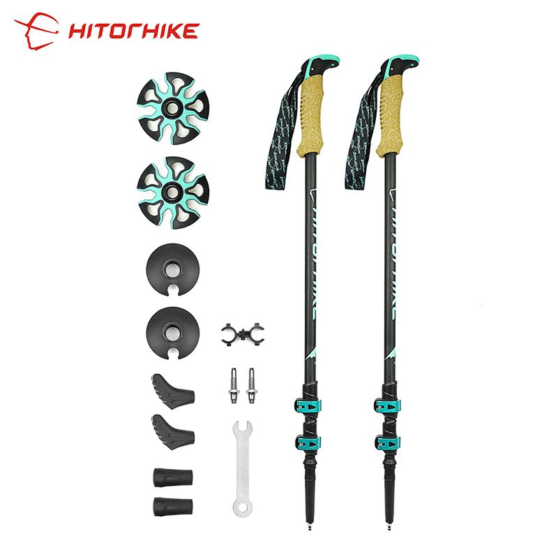 195g/pc carbon fiber external quick lock Trekking <font><b>pole</b></font> hiking telescope stick nordic walking stick Shooting Crutch Senderismo