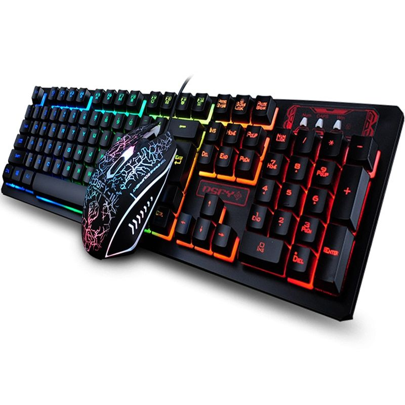 Nouveau 104 touches clavier de jeu souris arc-en-ciel LED rétro-éclairé mécanique sentiment clavier Pro clavier de jeu et souris
