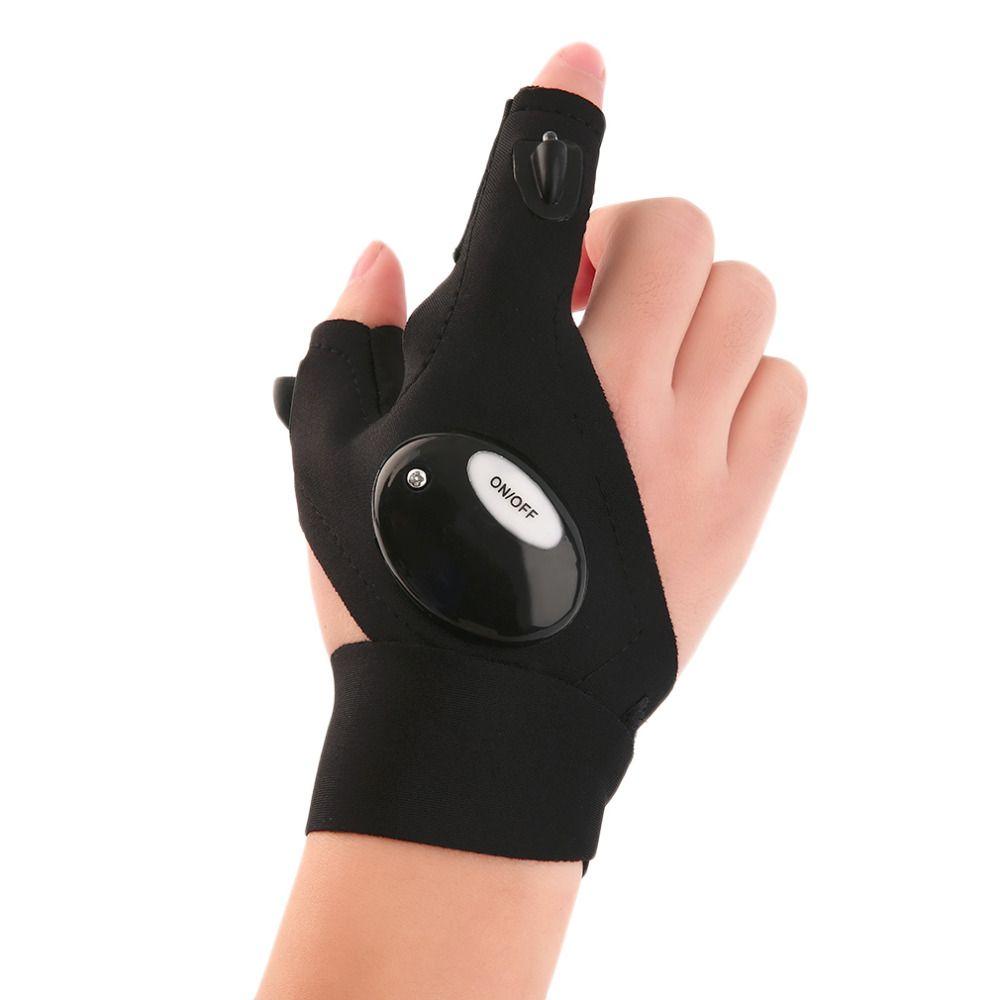 Outdoor Angeln Magic Strap Fingerlose Handschuh LED Taschenlampe Abdeckung Überleben Camping Wandern Rescue Tool