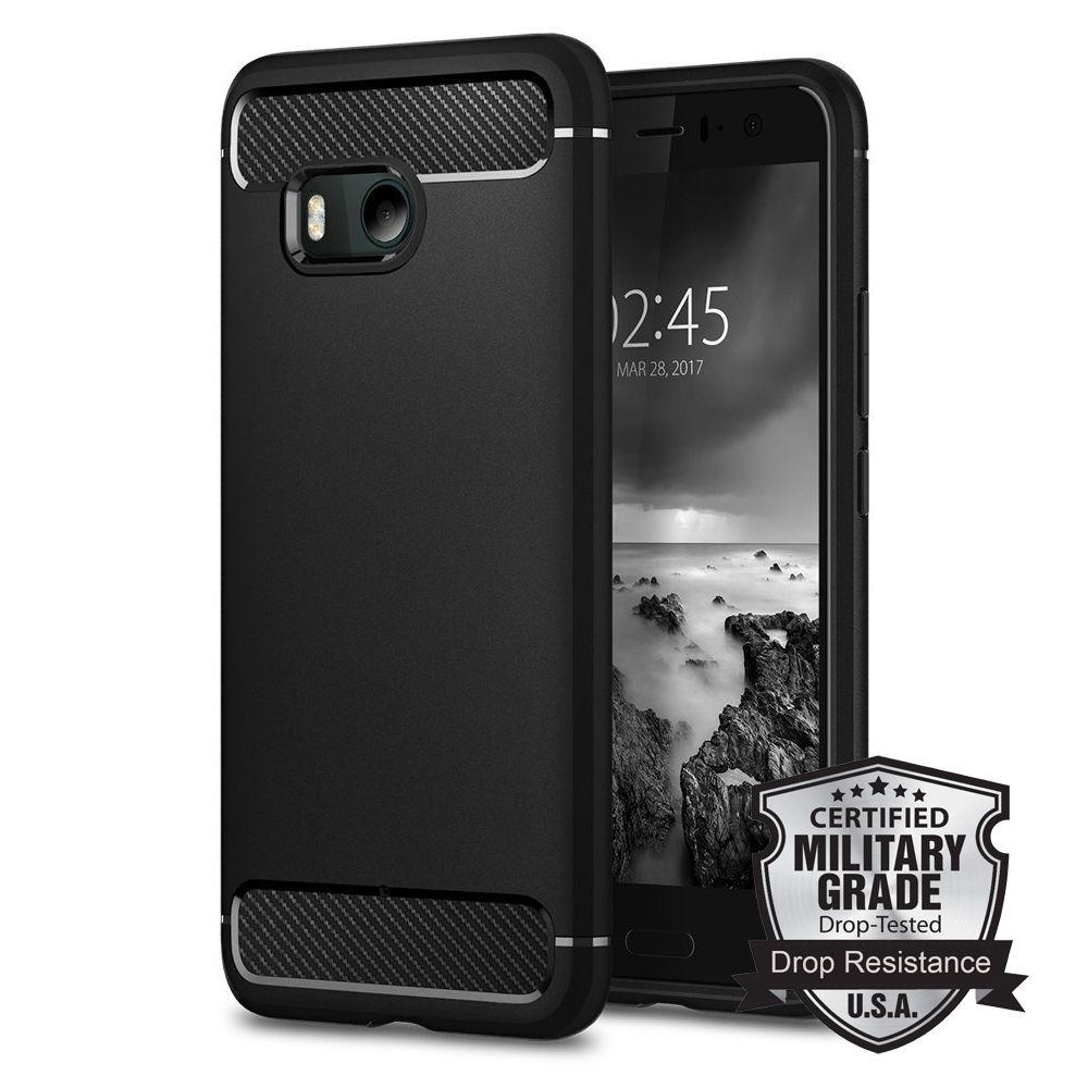 100% Original <font><b>RUGGED</b></font> ARMOR Case for HTC U11 Carbon Fiber Texture Design Durable TPU Case for HTC U11 / HTC U 11 / HTC Ocean
