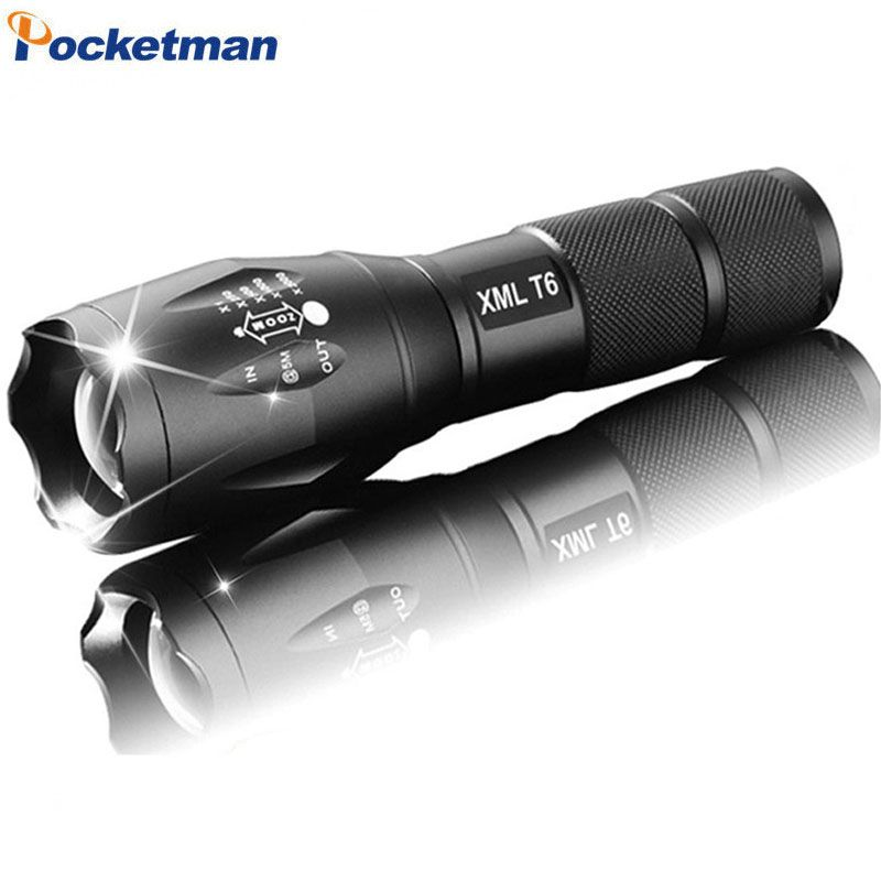 E17 High Power CREE XML-T6 5 Modes 3800 Lumens LED Flashlight Waterproof Zoomable Torch lights with 18650 battery