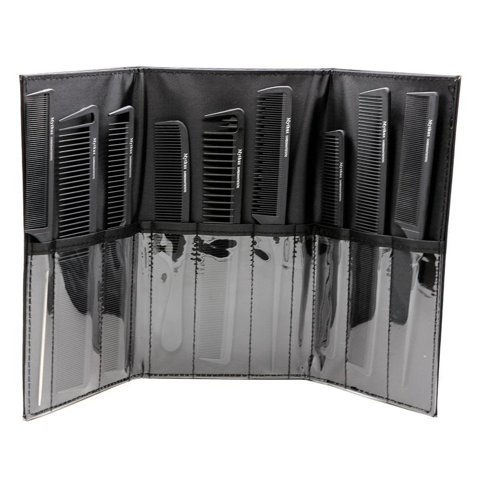 Populaire professionnel coiffure peignes en carbone ensemble 9 pcs peignes ensemble avec sac de haute qualité, peigne en fiber de carbone résistant à la chaleur