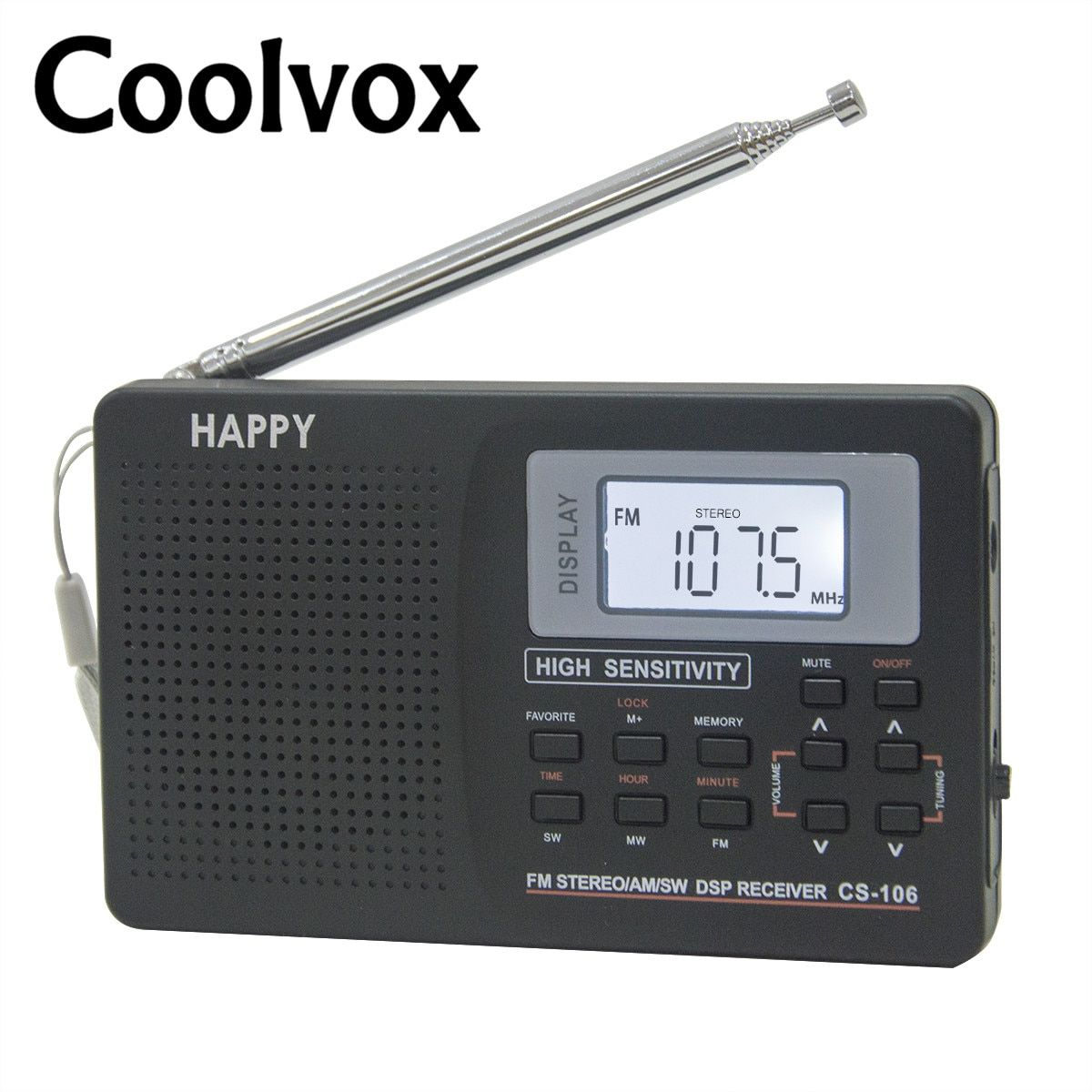 Coolvox CS-106 Full-band Multiband Stereo Digital Tuner FM/AM/SW/LW/TV Sound Full-wave Band Receiver Radio Antenna with Earphone
