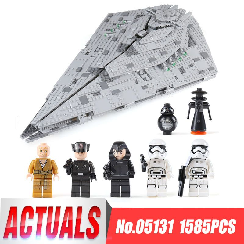 Lepin 05131 1585Pcs Genuine Star Series Wars The First order Star Model Destroyer Set LegoINGlys 75190 Building Blocks Brick Toy