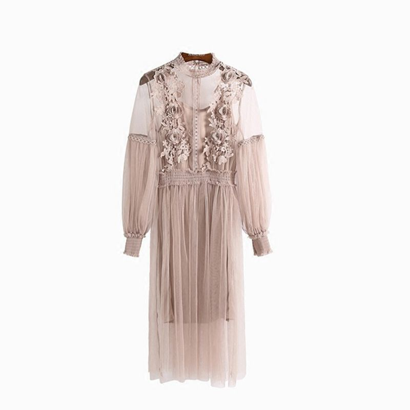 <font><b>Angela</b></font>&Alex Women Long Sleeve Lace Dress 2018 Style Floral Embroidery Party Dream Dress Knee-length 2-piece Sexy Hollow Out Wear