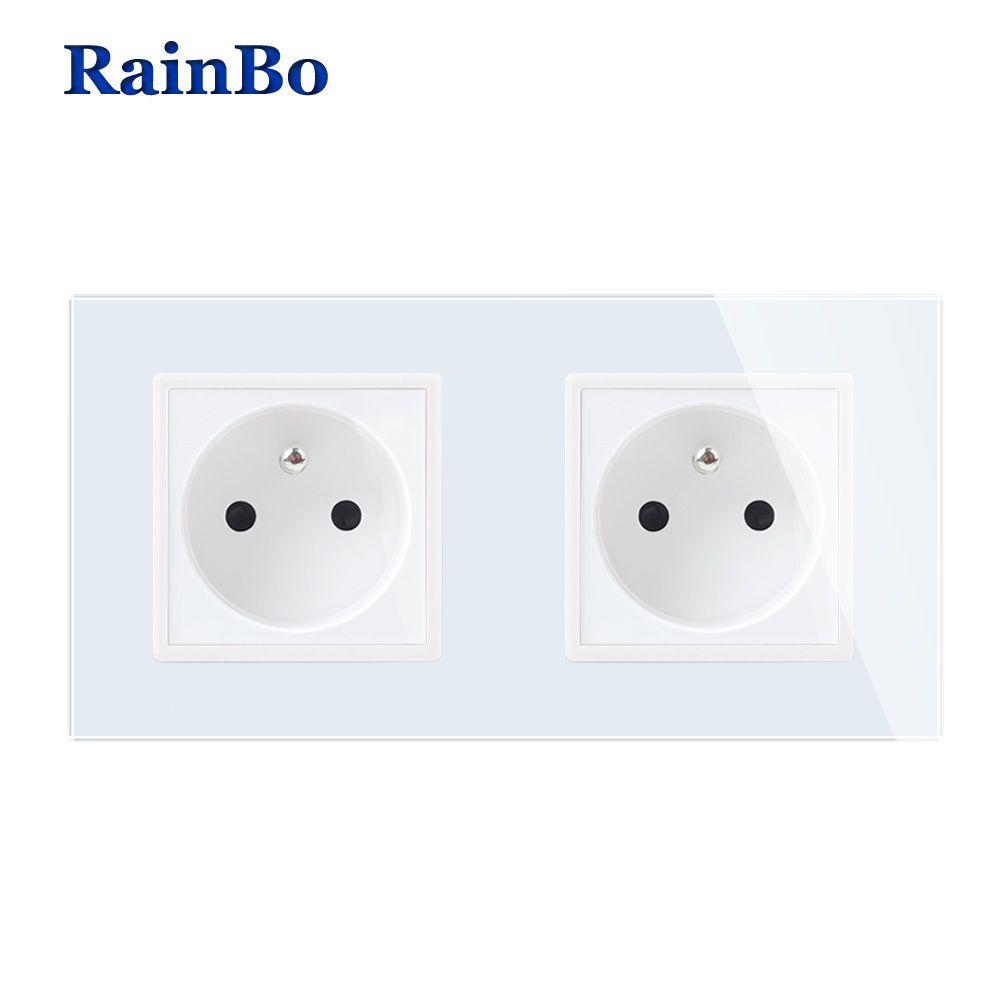 RainBo Wall-France prise électrique vitre-panneau AC250V-Wall alimentation-prise intelligente-prise murale-fabrication A28F8FW/B
