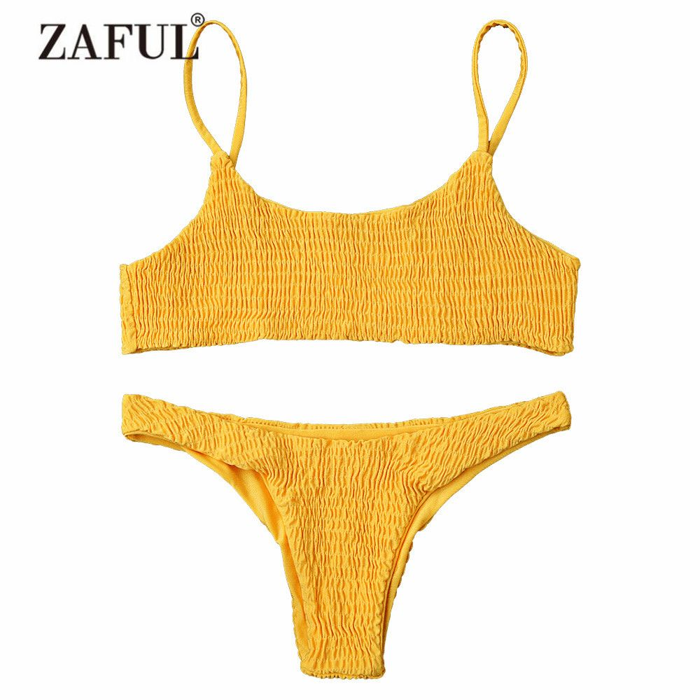 ZAFUL Women Swimwear Bikini Cami Smocked Bikini Top and Bottoms Sexy Low Waisted Spaghetti Straps Swimsuit Women Bathing Suit
