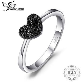 JewelryPalace Moda 0.14ct Natural Espinélio Preto Amor Coração Anéis Para As Mulheres 100% Presentes de Casamento de Prata Esterlina 925 Jóias Finas