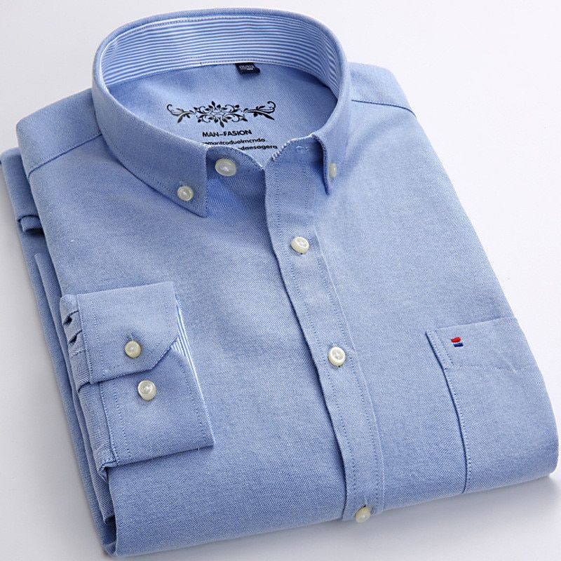 New Spring Autumn Oxford Mens shirts long sleeve Cotton casual shirt solid plaid camisa 5XL 6XL Big size camisa social masculina