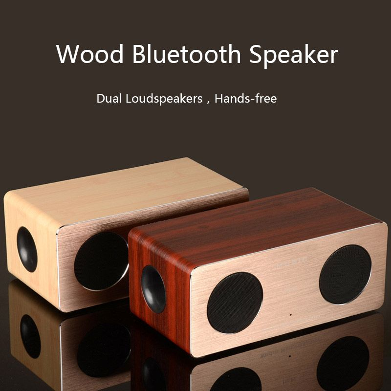 High Quality Dual Loudspeakers Wooden Bluetooth Speaker support Hands-free  Wood Box Aluminum Panel Portable Wireless Speakers