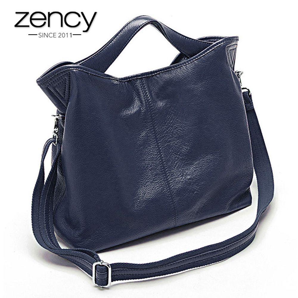 Zency Wholesale Fashion Women Handbag 100% Genuine Leather Ladies Casual Tote Bag <font><b>Charm</b></font> Shoulder Messenger Classic Satchel Purse