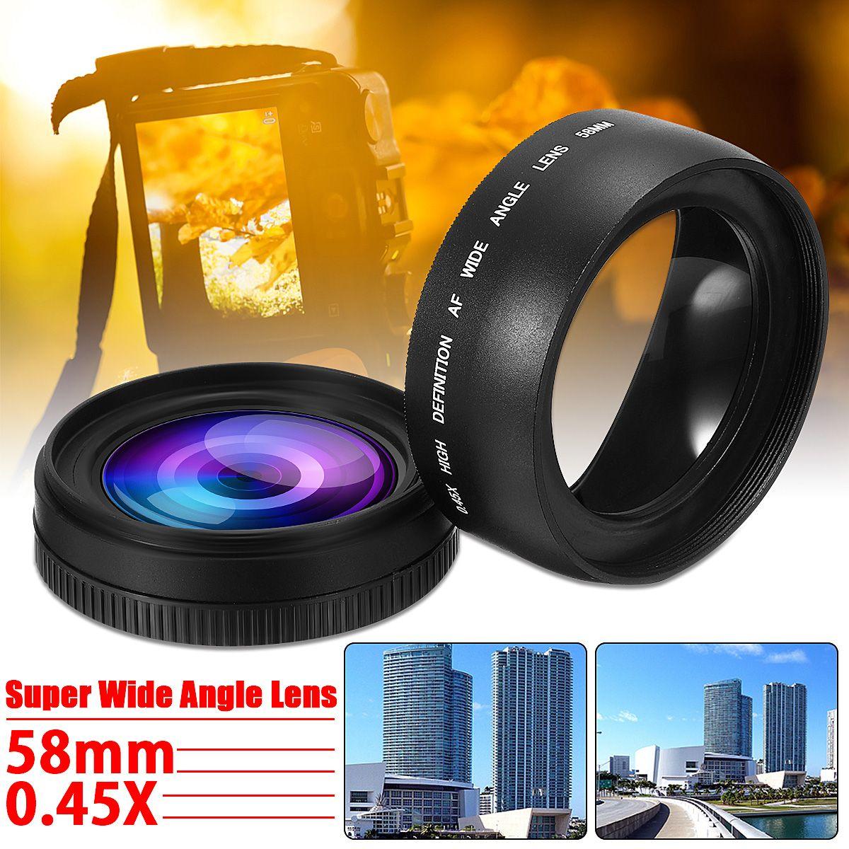 3 pièces 58mm 0.45X Objectif Grand Angle pour Canon EOS 1000D 1100D 500D Rebelles T1i T2i pour T3i L3EF Caméra Lentille Accessoires