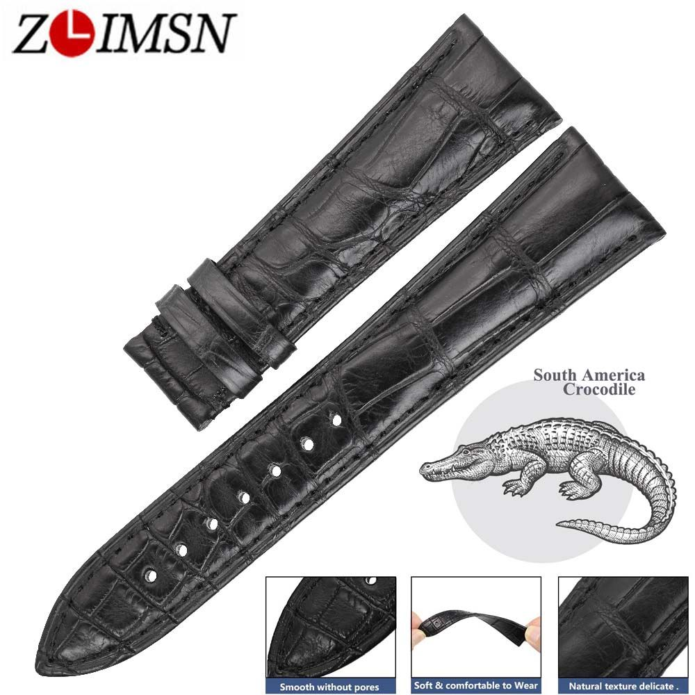 ZLIMSN Double Luxury Crocodile Leather Watch Black Bands Men's Women Strap Suitable for Panerai 14mm-24mm Alligator Watchband