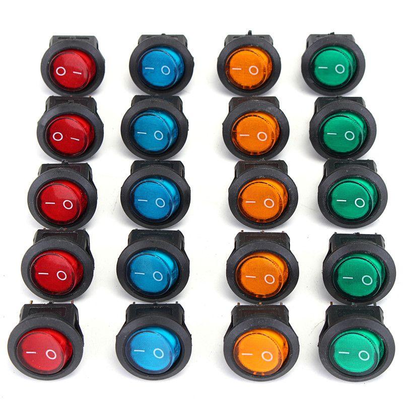 20 stücke Vier Farben 12 v 3 Pins LED Rocker Toggle SPST Schalter Dot Licht Auto Boot Auto Runde AUF /OFF