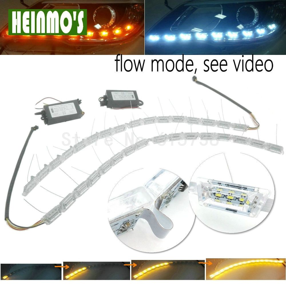 NEW Crystal Flowing vinstar led DRL day light high power flexible led daytime running light turn light white/amber strechable