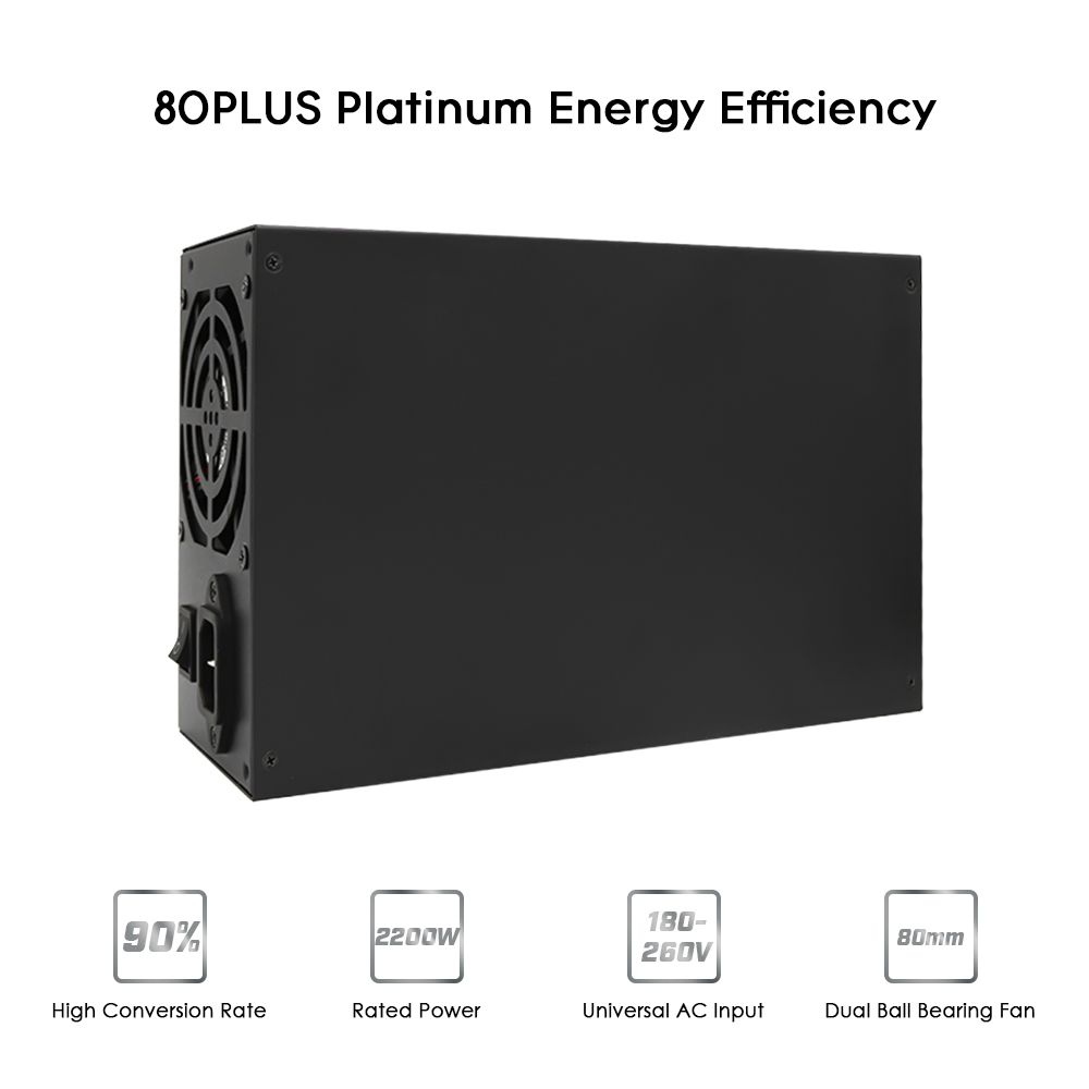 2200W Switching Power Supply 90% High Efficiency for asic antminer l3 Ethereum S9 S7 L3 Rig Mining machine Computer psu 180-260V