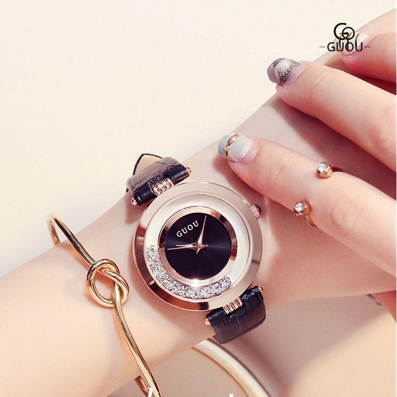 GUOU часы Роскошный Блеск Алмазный горный хрусталь смотреть Женские часы женские модные изысканные кожаные часы Saat Relogio feminino