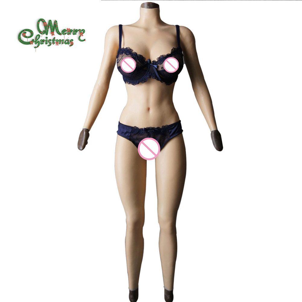 F tasse feste silikon titten vagina Body für Crossdresser mit ärmeln und brust form Gesäß pad brust platte gefälschte pussy