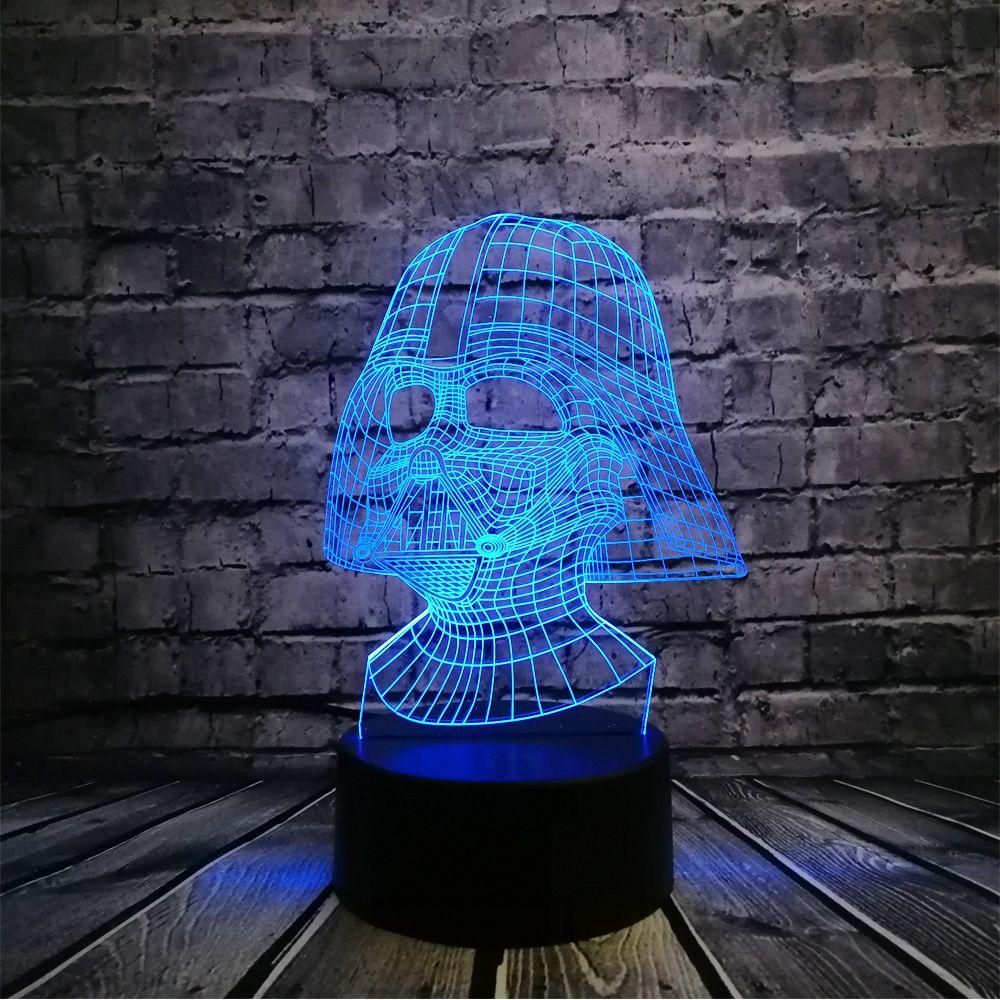 Nouveau Star Wars Dark vador Dark guerrier 3D nuit lumière LED usb lampe de Table éclairage multicolore touche visuelle Cool Figure enfants jouets
