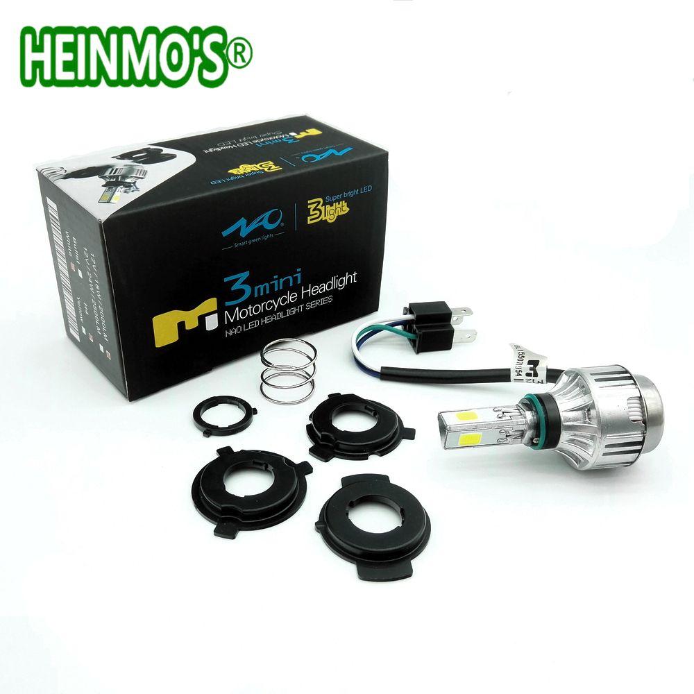 18W+12W WHITE (Amber) COB Motorcycle LED <font><b>Headlight</b></font> Motorbike headlamp LED Hi Low beam motor Conversion Kit H6 H4 BA20D kit led