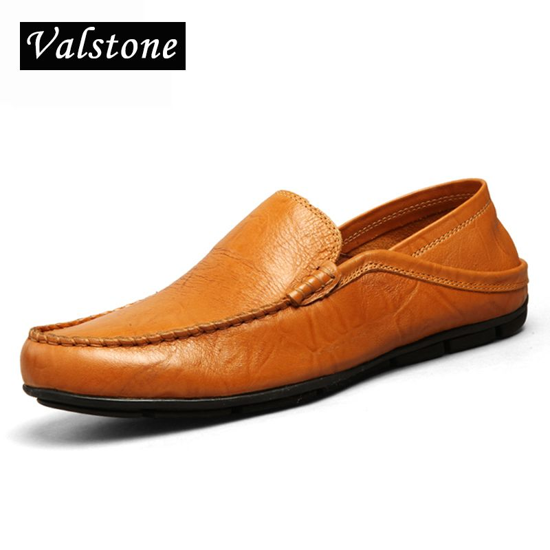 Valstone Superstar Men's casual <font><b>driving</b></font> shoes Slip-on light loafers 2018 Autumn leather soft moccasins flats black Plus sizes 46