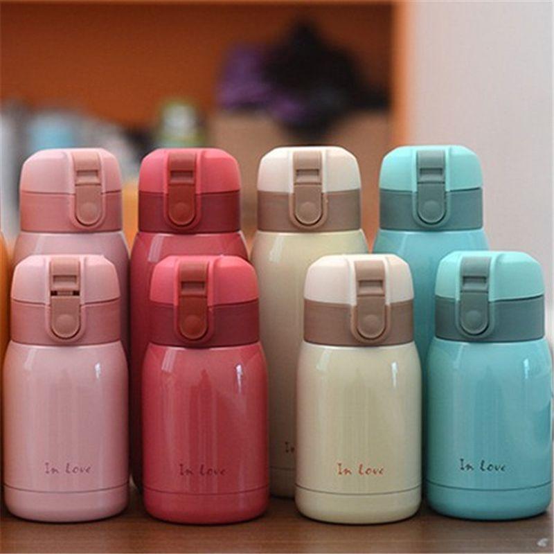 2017 Venta Caliente Nuevo Mini Lindo termo Taza del Vacío del Acero Inoxidable luz y niños portable de la botella de agua de Café Tazas De Té