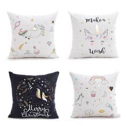 Nouveau Beau Dessin Animé Licorne Coton Lin Décoratif Coussin Couverture Coussin Ours 45*45 Cm Textile de Maison Taie d'oreiller A30