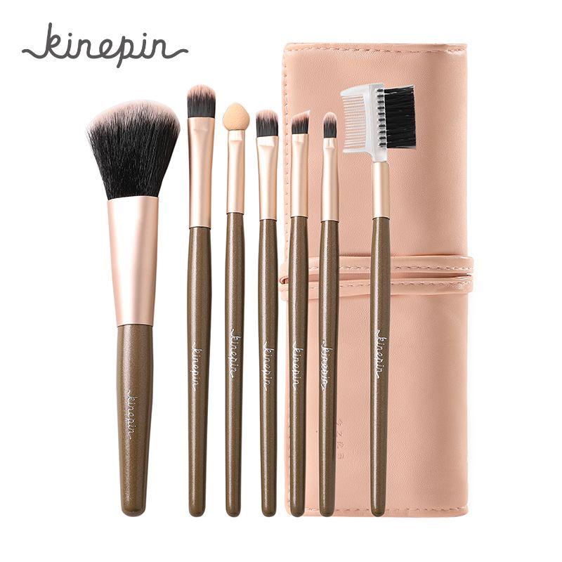 KINEPIN professionnel 7 pièces Kit maquillage Set brosses Portable cosmétique sourcil poudre maquillage brosse outil w/élégant cuir sac titulaire