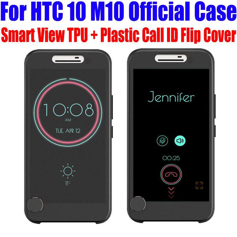 Pour HTC 10 M10 5.2 pouce Cas Officiel TPU + Plastique Call ID GLACÉE À puce Voir Couverture De Chiquenaude Pour HTC 10 MODE de VIE + Écran Film M102
