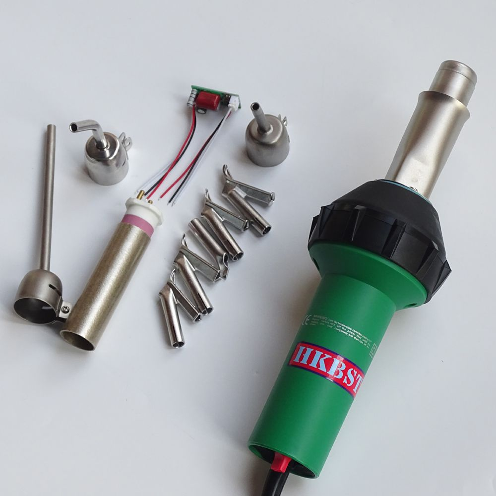 HKBST plastic welder heat gun with 9pcs of accessories include nozzles,spare heat element,spare circuit,etc