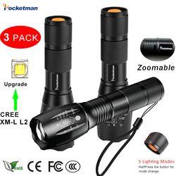 3 unids más brillante linterna táctica 8000LM XML-L2 linterna LED de alta potencia, Zoomable antorcha para Camping emergencia senderismo