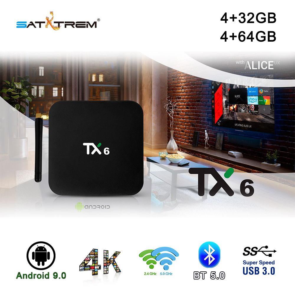 Tanix TX6 boîtier de smart tv Android 9.0 4 K IPTV 4 GB DDR3 32 GB MEM BT 4.1 Support Double Wifi 2.4 g/5 GHz Youtube H.265 Set Top Box