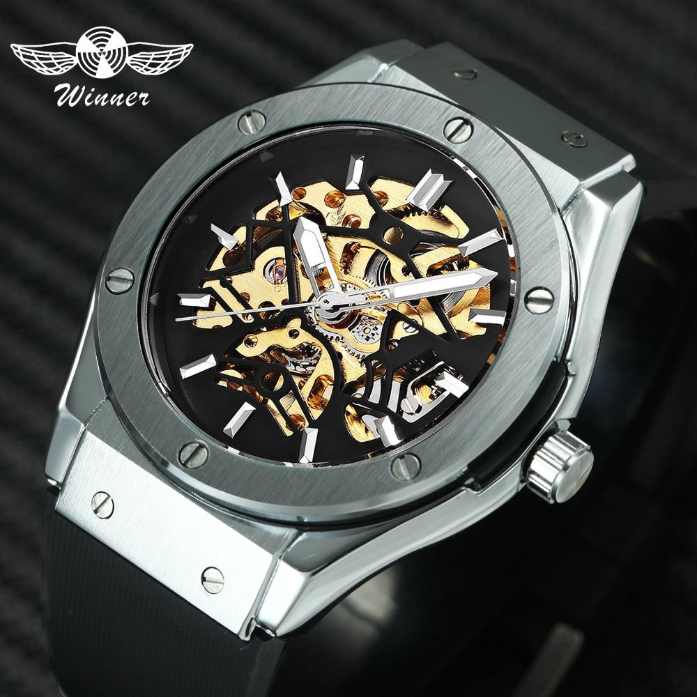 WINNER Men Military Watches 2019 Fashion Auto Mechanical Wristwatch Rubber Strap Skeleton Stainless-steel Case reloj hombre+ BOX