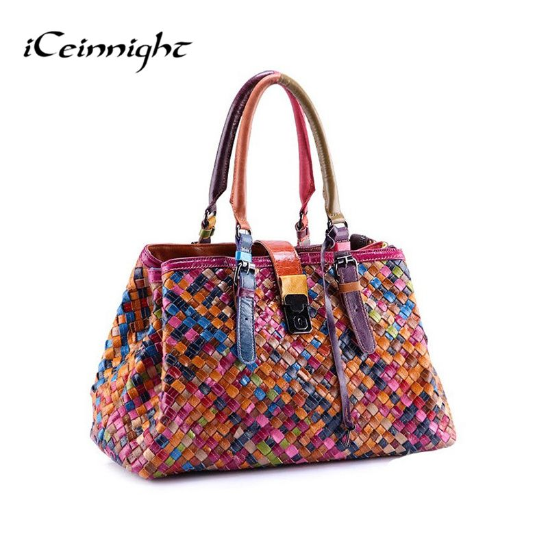 2017 New Fashion Multicolour Genuine Leather Bags Weave Handbags Women's Shoulder Bag Messenger Bag colorful handbag female